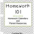 Homework 101-Monthly Homework Calendars for First Grade