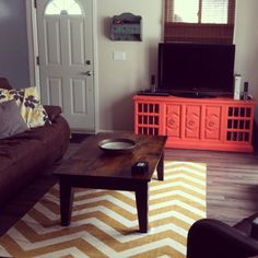 Painted stereo cabinet turned tv stand DIY