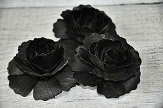 Black Carnations made of Birch wood Shavings