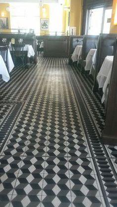 Geometric cement tiles for a Classic Italian Restaurant