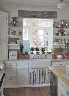 Country kitchen, enamel bread box, farmhouse sink - love :)