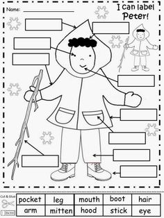 Free: The Snowy Day: Peter Labeling Sheets. Freebie For A Teacher From ...