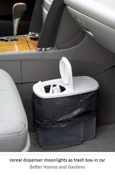 use cereal storage for a car garbage - http://bluevelvetchair.blogspot.com