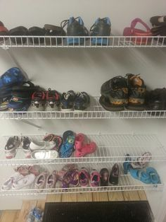 Upside down wire shelves for shoe storage. wire shelv, shoe storage