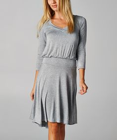 Gray V-Neck Blouson Dress