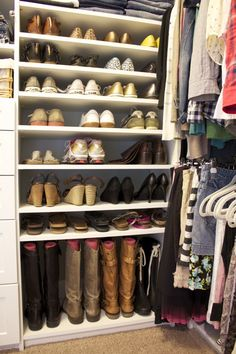 closet shoe organization... pool noodles to keep boots standing up!