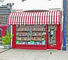 Sweet shop #red #white #awning #window #display