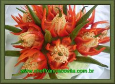 Tutorial to make this red pepper flower display ~ by Chef Francisco Vita