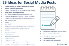 Ever get stumped about what to post in your social media? We all do. But here's a great list of 25 ideas for social media posts. Download from The URL Dr.