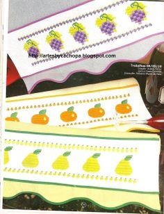 Arte by Cachopa - Bordado I: Panos de copa com frutas em ponto reto