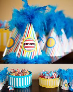 themed birthday parties, hat boxes, party hats, birthday hats, birthday idea, 1st birthday, first birthdays, parti hat, parti idea