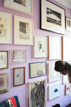 Lavender gallery wall.