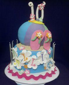 Beach/pool birthday cake