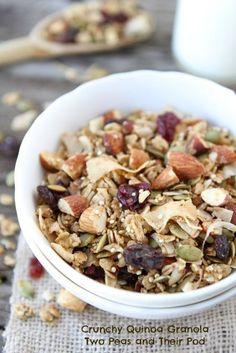 Crunchy Quinoa Granola Recipe on twopeasandtheirpod.com #recipe #healthy #granola