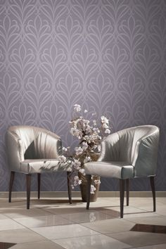 Lalique Purple Nouveau Damask Wallpaper by Brewster. Find this pattern at AmericnaBlinds.com.