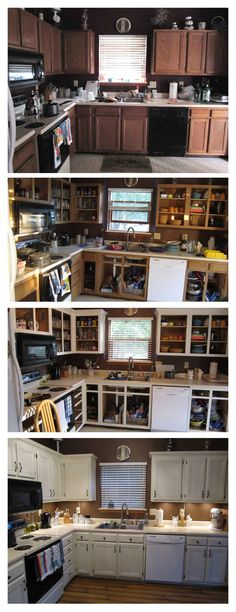 Cheap Kitchen Makeover - Add cabinet cornice trim. Sand, prime and paint cabinets & doors. Add new hardware. Paint walls. New faucet. New laminate wood floor. Add under-cabinet lighting. What a transformation!.... I am loving the white cabinets with tan walls!!!!