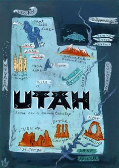 Christiane Engel,   Postcard From Utah   #map, #painting