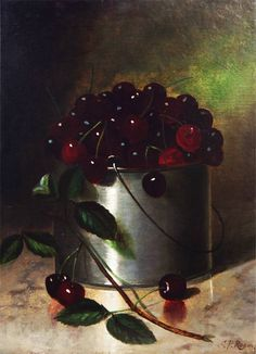 """Bucket of Cherries"", circa 1876 by Carducius Plantagenet Ream.    Carducius Plantagenet Ream (1836-1917) was one of the most important still life painters of the 19th century. Born in Lancaster, Ohio (USA). Oil on canvas, 15 x 11 inches.    http://www.fineoldart.com/browse_by_essay.html?essay=412____ http://www.thomascolville.com/index.cfm?pg=2=Inventory=s=sa=6-154=1=1"