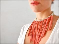 Upcycled Fabric Necklace  Bib Fringe Necklace by Pamplepluie on Etsy  ** Featured in the latest ETSY FINDS SHOPPING GUIDE! **