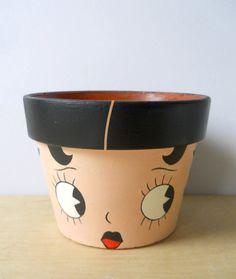 Betty Boop Hand Painted Flower Pot