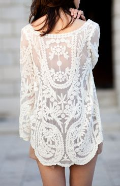 summer city style, lace beach cover up, lace tops, white lace, crochet tops, summer time clothes, lace cover up, lace patterns, lace dresses