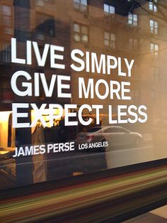 Live Simply.