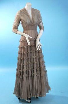 Vintage 1930 Rare Eta Hentz smoke colored mesh and beaded gown