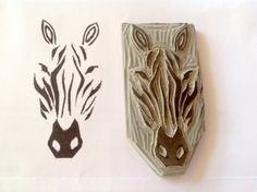 Undefined stamp set by Stampin' Up! Zebra carved by Robyn Gorton