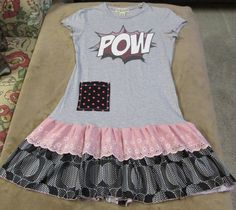 Upcycled dress tunic POW graphic tee vintage ruffle by paintallday, $30.00