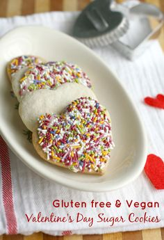 Allergy friendly Valentine's Day sugar cookies - these cookies are gluten free and vegan and taste amazing! - just use something other than almond milk!