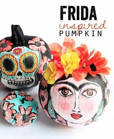 frida pumpkin alisaburk, kahlo inspir, frida inspir, pumpkins, craft idea, fall idea, frida kahlo, inspir pumpkin, halloween