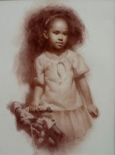 """""""Rag Doll"""" - Susan Lyon, pastel pencil 2009 {contemporary figurative artist african american black girl with toy portrait drawing}"""