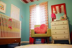I just LOVE the colors of this kids' room!    Custom WINDOW PANELS 96 length Set of 2  You by RockyTopDesign, $119.00