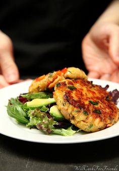 Salmon Cakes with Honey Mustard Vinaigrette by WillCookForFriends