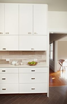 Cabinets, hardware, backsplash