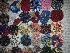 Jewel Toned Hand MadeYoyo Quilt made from Recycled Neckties