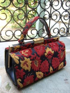 Opulent Vintage Brocade Flower Handbag by worldmarketproductio, $85.00