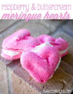 raspberry and buttercream meringue hearts