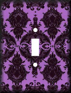 Purple Damask Light Switch Art Cover @Mary Kenworthy