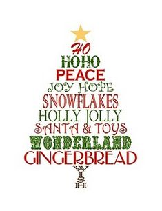Printable Christmas Tree Word Art.