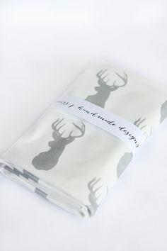 Organic Cotton Knit Baby Blanket. Grey Deer Silhouette Swaddle Blanket