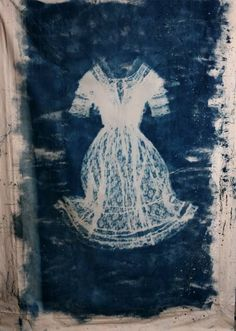 Cyanotype  : Vintage edwardian gown printed directly onto canvas. -Jennifer Glass