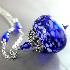 WINTER NIGHT Necklace, Hand Blown Cobalt Blue Glass, Sterling Silver