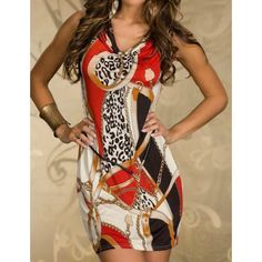 Sexy Women's Draped Collar Printed Dress