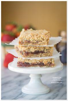 Strawberry Jam Oatmeal Bars | TeenieCakes.com @Arlene Russell Russell Christina