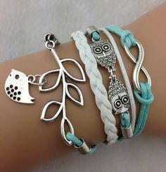 Bird BraceletMint Blue BraceletOwl BraceletInfinity