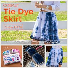 iLoveToCreate Blog: Cobalt and White Tie Dyed Skirt
