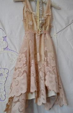 ☯☮ॐ American Hippie Bohemian Style ~ Boho Upcycled tea stained lace dress