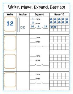 Base 10 Common Core Math Activity