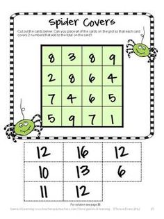 Here is a fun Halloween math puzzle - Spiders Covers - from Halloween Math Games, Puzzles and Brain Teasers - a collection of Halloween Math by Games 4 Learning. $